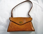 Caramel Colored Vintage Handmade Hand tooled Leather Handbag