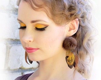 "Brown Feather Earrings - ""Little Squirrel"" Yellow Brown Feather and Fur Earrings Boho Feathers Bohemian Feathers Gypsy Festival Trend"