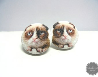 Grumpy Cat Fabric Button Earrings