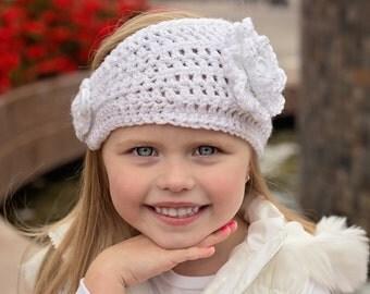 Crochet Ear Warmer - Crochet Head band - Crochet Flower - Ear Warmer - White Ear Warmer, Crochet Sparkle ear warmer - Sparkle - Flower