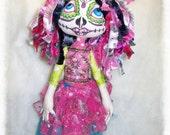 Cloth Doll - Sugar Skull - Day of the Dead Doll - Pixie Doll - Cloth Art Doll - Textile Art Doll - Fabric Art Doll - OOAK doll