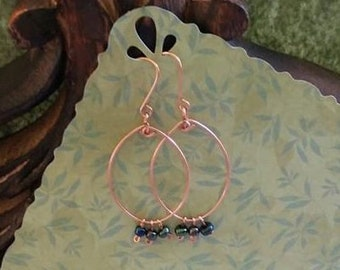 Copper earrings with beaded dangles