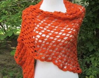 Crocheted Orange / Burnt Orange / Deep Orange / Pumpkin / Carrot / Shawl / Trellis and Shell Pattern / Triangular