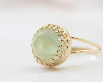 Prehnite Ring • Gold ring set with a soft green prehnite gemstone • Pastel jewelry