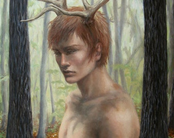 Heavy Hart Print 8x11 Acrylic and Oil Painting Pagan Horned Man Deer Antlers Stag Boy Preraphaelite Fantasy Mythology