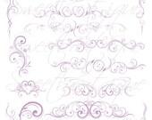 Lilac Digital Clip Art Digital lourish Decorations Flourish Flowers Clipart Engagement Wedding Scrapbook Supplies Buy 3 get 1 free 0696