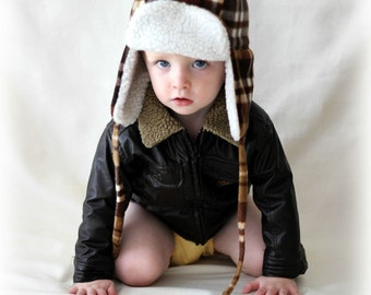Baby/Toddler Aviator Hat, Bomber Hat, Earflap Hat, Trapper Hat, Winter Hat, Boy's Hat, Brown plaid fleece