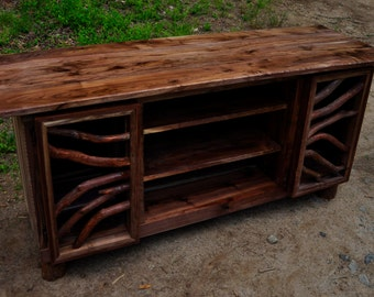 Rustic Walnut Wood TV Media Entertainment Center Sideboard Buffet Table Log Cabin Adirondack Furniture by J. Wade