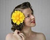 "Yellow Flower Hair Accessory, Large Flower Clip, Fall Fascinator, 1950s Headpiece, Vintage Dahlia - ""Auric Imagining"""