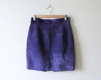 90s Purple Leather Skirt Violet High Waist Wiggle Pencil Skirt Danier Goth Club Kid Women Size 10 Medium