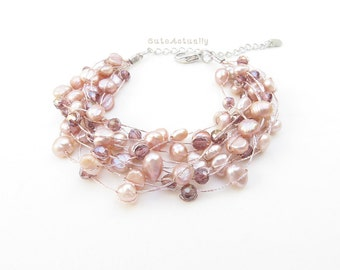 Multistrand pink freshwater pearl bracelet with crystal on silk thread, light purple pearl bracelet