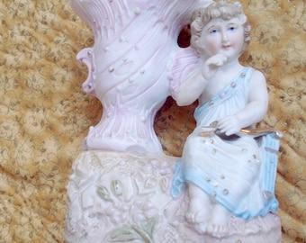 Porcelain Figural Vase with Grecian Girl and Urn, Small Vintage Figural