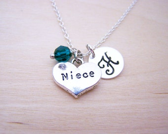 Niece Charm Necklace -  Swarovski Birthstone Initial Personalized Sterling Silver Necklace / Gift for Her - Niece Necklace