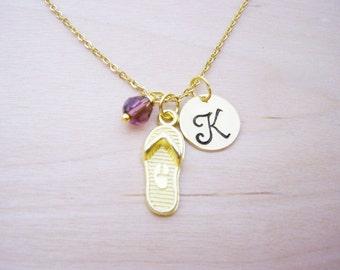 Flip Flop Necklace - Gold Initial Necklace - Birthstone Necklace - Gold Initial Necklace - Personalized Necklace - Flip Flop Charm