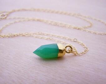 Green Chrysoprase Gemstone Necklace - 14k Gold Filled Necklace - Tiny Necklace - Layering Necklace - Green Jewelry - Gold Fill Jewelry