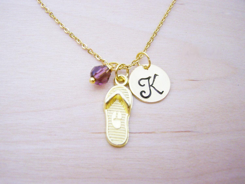 flip flop necklace gold initial necklace birthstone. Black Bedroom Furniture Sets. Home Design Ideas