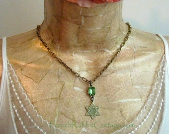 STAR of DAVID NECKLACE Pendant. Jewish Judaica Jewelry. Verdigris Patina Jewelry Vintage Peridot Rhinestone Hanukkah Chanukah Gift for Women