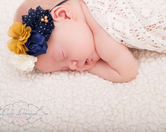 Navy, Ivory and Mustard Flower Headband, Baby Headband, Navy Headband, Mustard Headband, Rosette Headband, Photography Prop