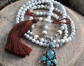 Beautiful howlite gemstone mala necklace