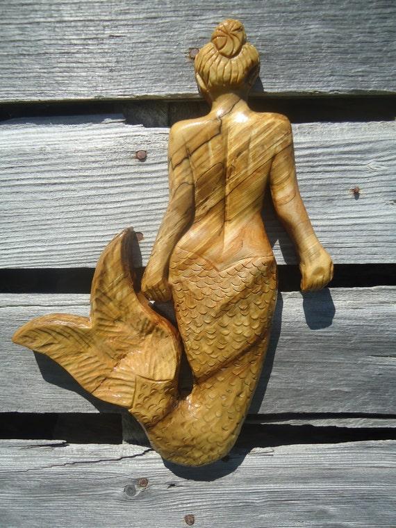 Mermaid wall decor wood : Wood mermaid sculpture ocean decor wall artwork hanging