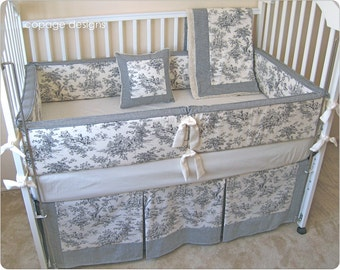 Black Central Park Toile Baby Crib Bedding Set -- Bumper Pad, Crib Skirt, Blanket, and Accent Pillow