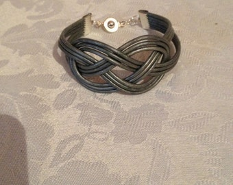 Metallic Silver Leather Bracelet, Sailor's Knot Bracelet, Leather Bracelet, Knotted Bracelet, Silver Leather Bracelet,Compare to Chan Lu