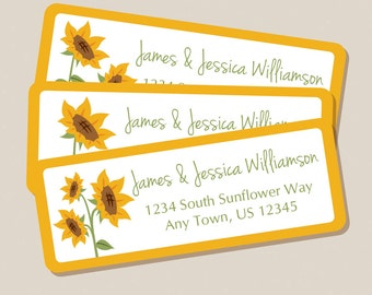 Sunflower Address Labels, Return Address Labels, Address Stickers, Sunflowers, Fall, Autumn, Flowers, Personalized Address Labels