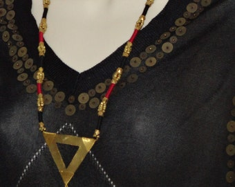 Indian jewelry: contemporary tribal chain with pendant. Handmade boho chain, brass beads and pendant. Ethnic party chain. From Artikrti