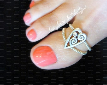 Big Toe Ring - Rhinestone Heart - Stretch Bead Toe Ring