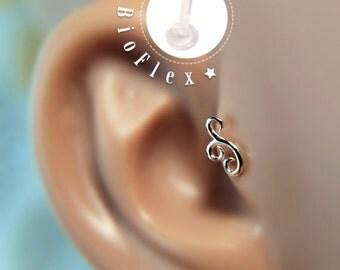 TRAGUS or LABRET /Swirl/ Sterling Silver Piercing/ Cartilage Earrings/ Rook/ Conch/ Medusa/ Labret earring/ Medusa piercing