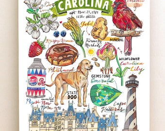North Carolina print, State symbols, Illustration, State art, Cardinal, Plotthound, Lily, lighthouse, Biltmore estate.