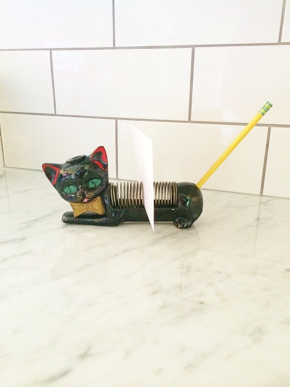 Black Cat Letter Holder , Vintage Letter Holder , Cat Decor , Retro Desk Accessory