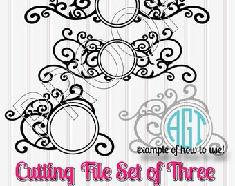 Monogram SVG Files Circles Set of 3 SVG PNG jpg files included Commercial Use Cut Files Great for Circle Monogram {no letters included}