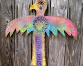 """Whimsical HandPainted Primitive Wooden Thunderbird Sculpture """"Fly"""". Colorful, Unique Folk Art, Outsider Art, Garden Totem Wall Decor."""