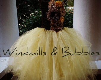 Burlap,Brown and Gold Flower Girl Dress