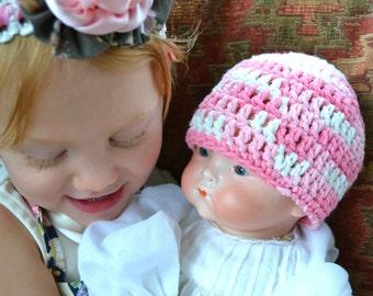 Cherry Blossom Crochet Baby Hat - Soft Natural 100% Cotton Yarn Blush Pink White Innocence Newborn Infant Crocheted Beanie Girl Shower Gift