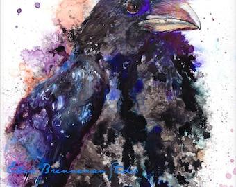 Raven art print: black crow decor crow art gift raven spirit animal art blackbird artwork print bird art raven wall art raven magic art