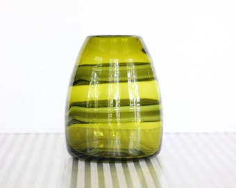 Vintage Clear Olive Green Glass Vase With Swirl Design