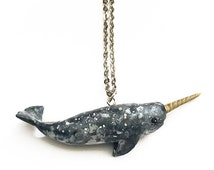 Handmade Narwhal Necklace - polymer clay jewelry, narwhal jewelry, whale necklace, sea, ocean, mermaid jewelry, octopus, jellyfish, nautical