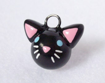 Cute Black Cat Charm - Handcrafted Polymer Clay Charm - Charm for Charm Bracelets, Earrings, Cell Phone Charm