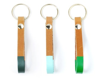 NEW Leather key fob in tan with colorblock detail | TANGO Key Fob