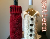 PDF Crochet Pattern - Cabled Sweater Wine Bottle Cozy Gift Bags - Instant Download