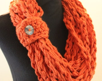 Burnt Orange Crochet Bulky Fall Autumn Warm Acrylic Infinity Scarf