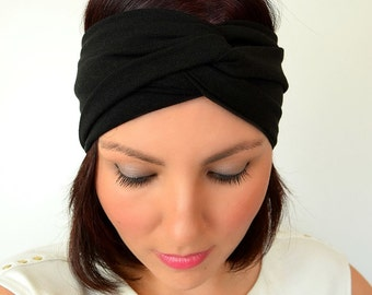 Black Turban Headband - Wide Twist Headband Yoga Headband Boho Headband Running Headband Womens Hair Accessory Black Headwrap