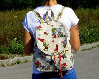 Women's Backpack Festival Backpack Backpack Rucksack Small Women's Backpack Boho Backpack School Backpack New Tapestry Backpack GNOMES