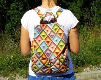Women's Backpack Festival Backpack Backpack Rucksack  Small Women's Backpack Boho Backpack School Backpack New Tapestry Backpack RHOMB