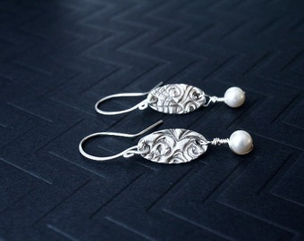 Silver Oxidized Pearl drop Earrings, Limited availability