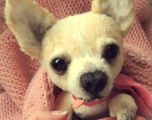 Chihuahua dog Sophia. Teddy dog.Toy Terrier.  Artist teddy bears. Stuffed animal by photo. Portrait pet. Whimsical. Animalistic gifts. OOAK