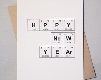 "Happy New Year Chemistry Periodic Table of the Elements ""HPPY NeW YEAr"" New Year's Day Sentimental Elements Card / Science Lovers /Chemistry"