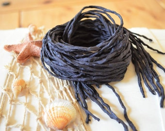 Black Silk Cord hand dyed black silk string for necklace bracelets 2mm